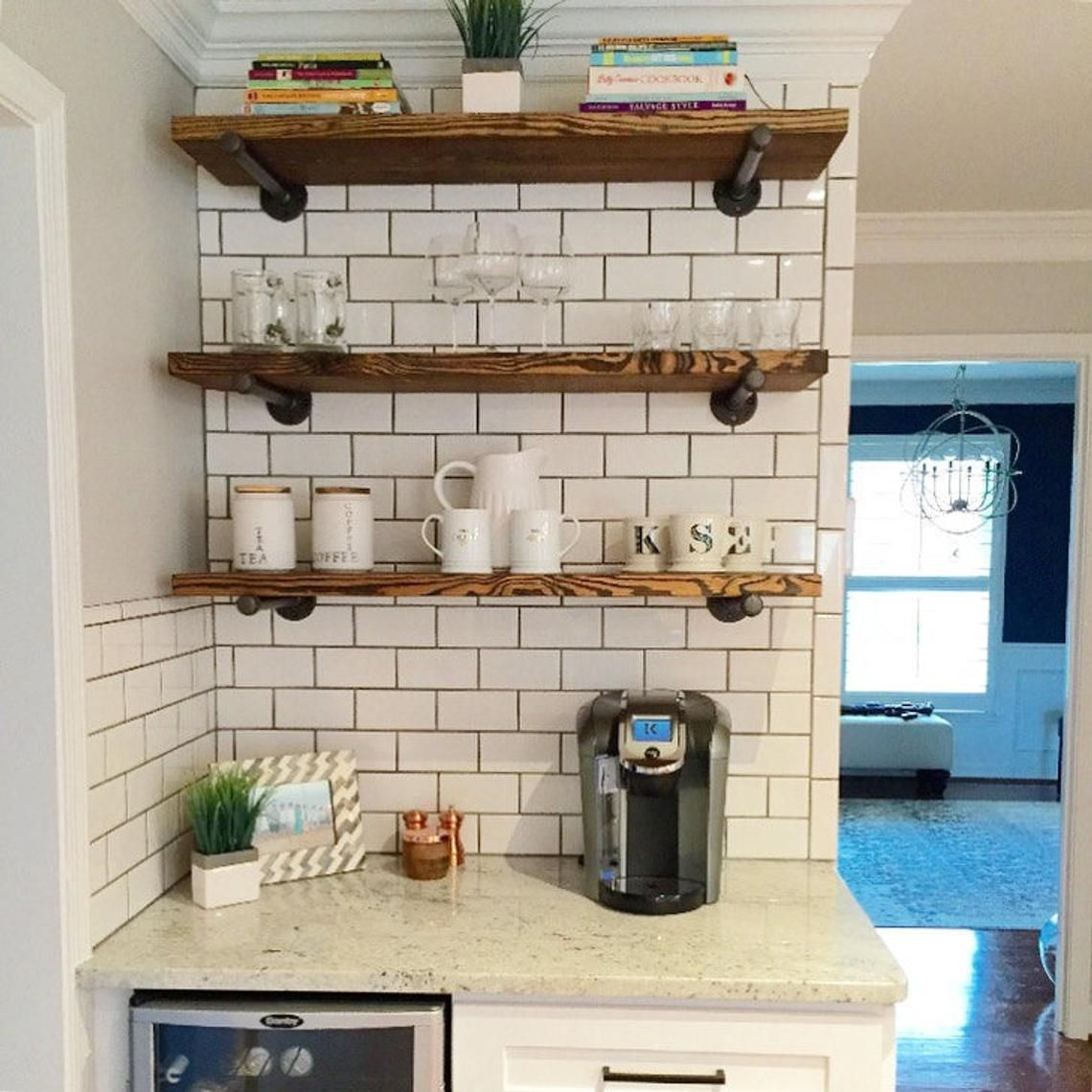 industrial floating shelves depth book shelf open kitchen creative wooden wall bracket for cable box crown molding mantle laying peel and stick flooring black wood island casters