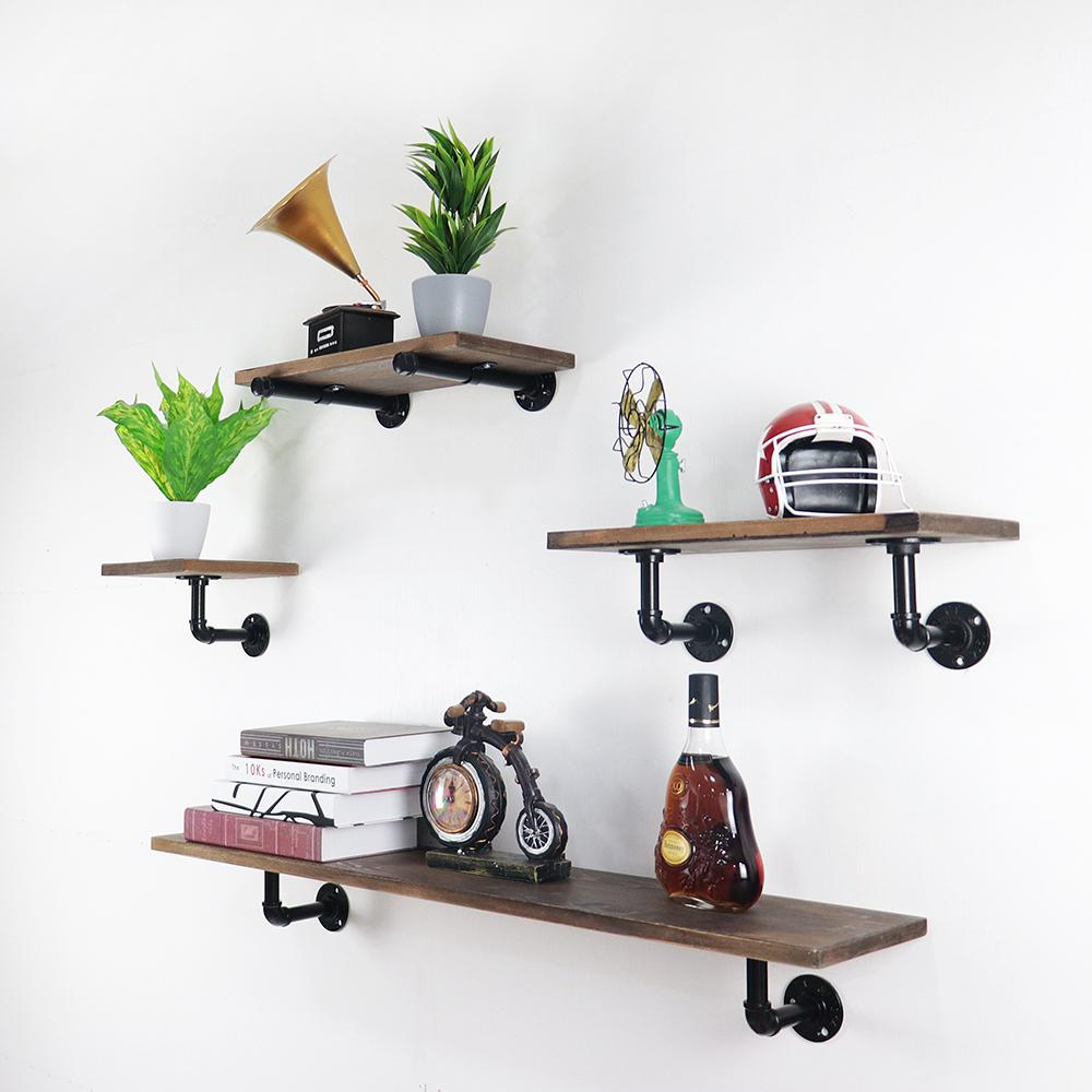 industrial pipe floating shelf rustic vintage display rack shelves wall from att hardware dhgate boxes ceiling hanging brackets open kitchen shelving round ikea clothes hook black