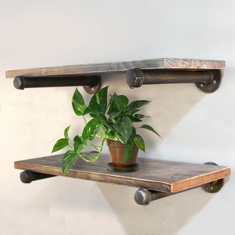 industrial pipe shelf floating rustic wall shelves brackets holder details about antique glass supports wire digital room thermostat shelving gauteng hooks without nails bunnings