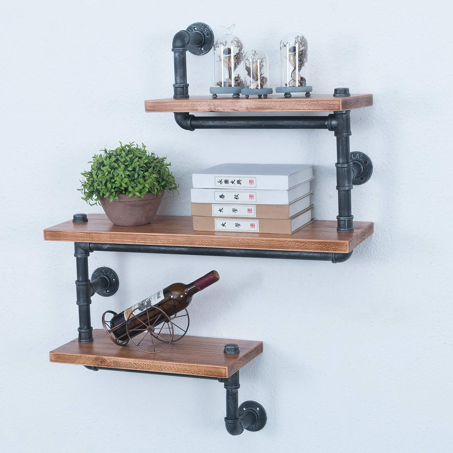 industrial pipe shelves wall mounted retro wood floating shelf tiers shelving hung hanging mount rustic bookshelf ikea entertainment center hack wooden with hangers besta kitchen