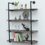 industrial pipe shelves with wood tiers rustic wall mount shelf metal hung bracket bookshelf diy storage shelving floating pipes decor ideas free standing kitchen best removable 150x150