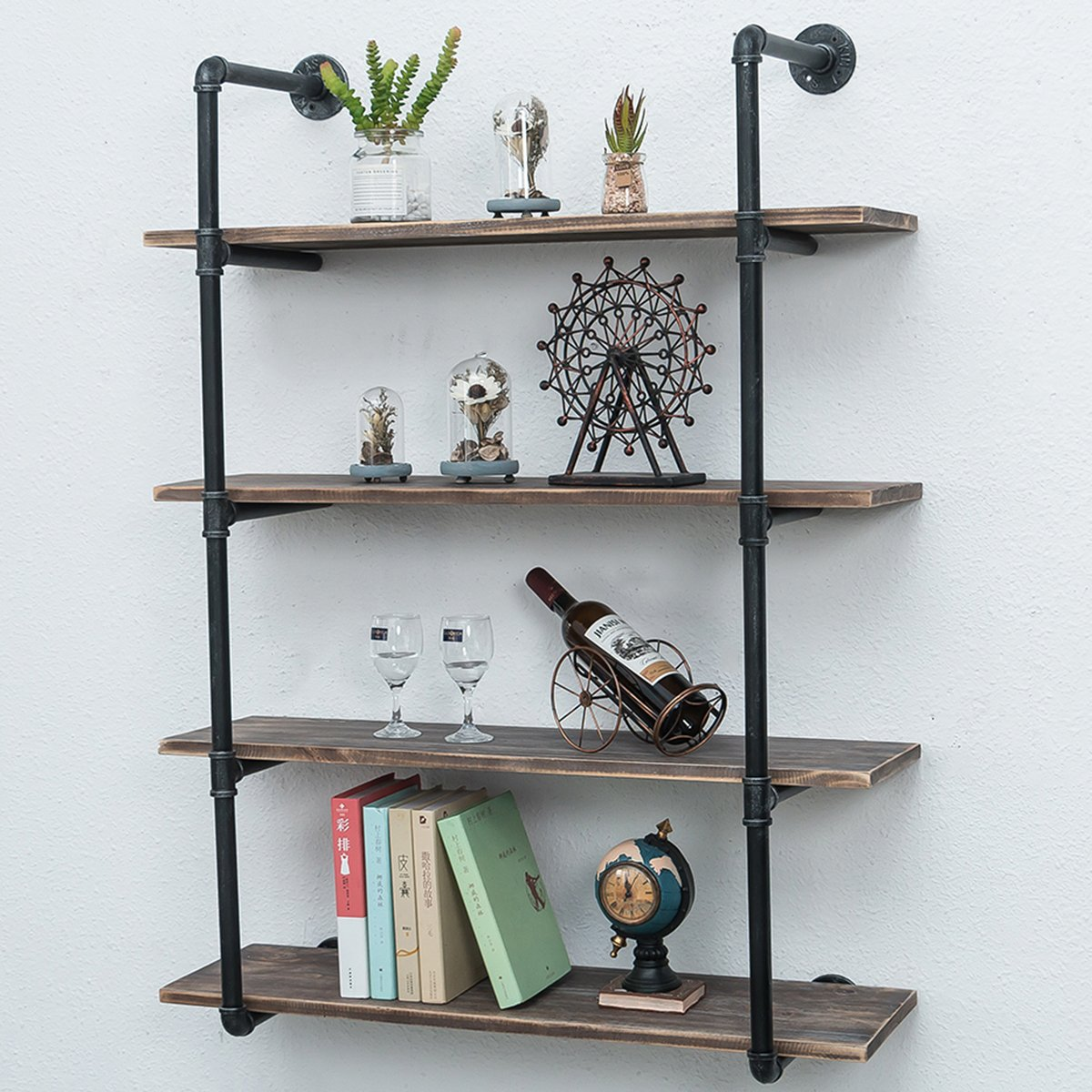industrial pipe shelves with wood tiers rustic wall mount shelf metal hung bracket bookshelf diy storage shelving floating pipes decor ideas free standing kitchen best removable