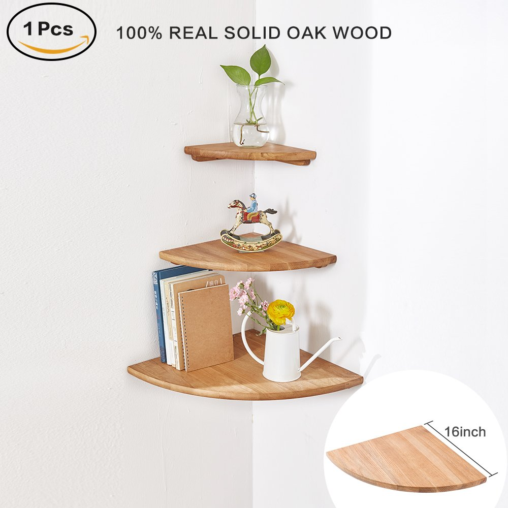 inman wooden corner shelf pcs round end hanging wall utyl oak floating shelves mount storage shelving table bookshelf drawers display racks bedroom office home small black under
