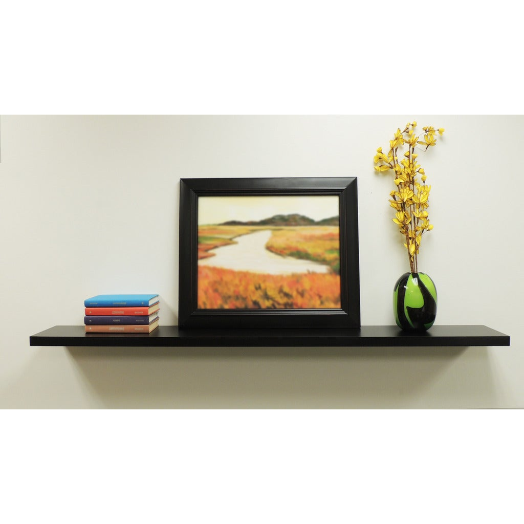 inplace wall mounted inch black floating shelf espresso metal coat hooks shelves toronto mudroom hanger work storage white kitchen cabinet distressed wood home office built ideas