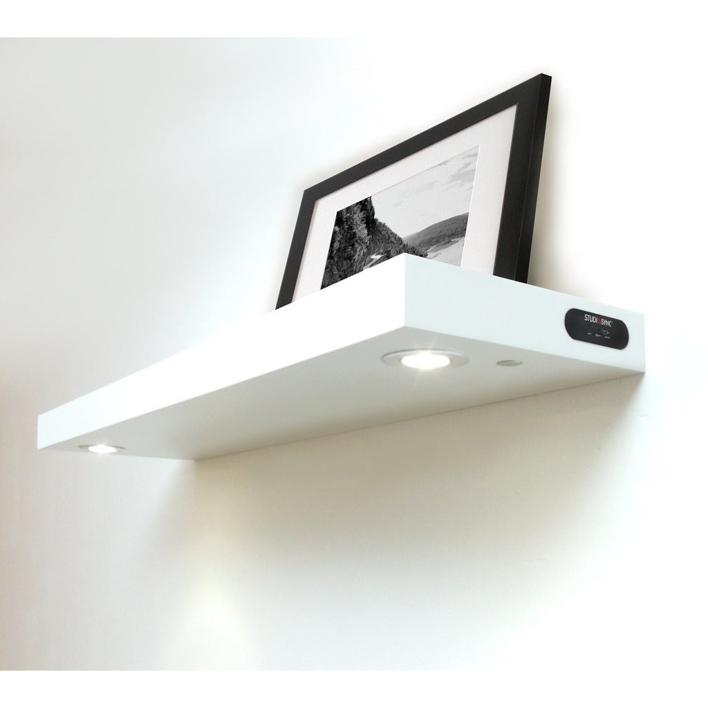 inplace wall mounted white floating shelf with led lights lewis hyman shelves lighting individual shoe rack corner tub shower collapsible small bathroom organization granite