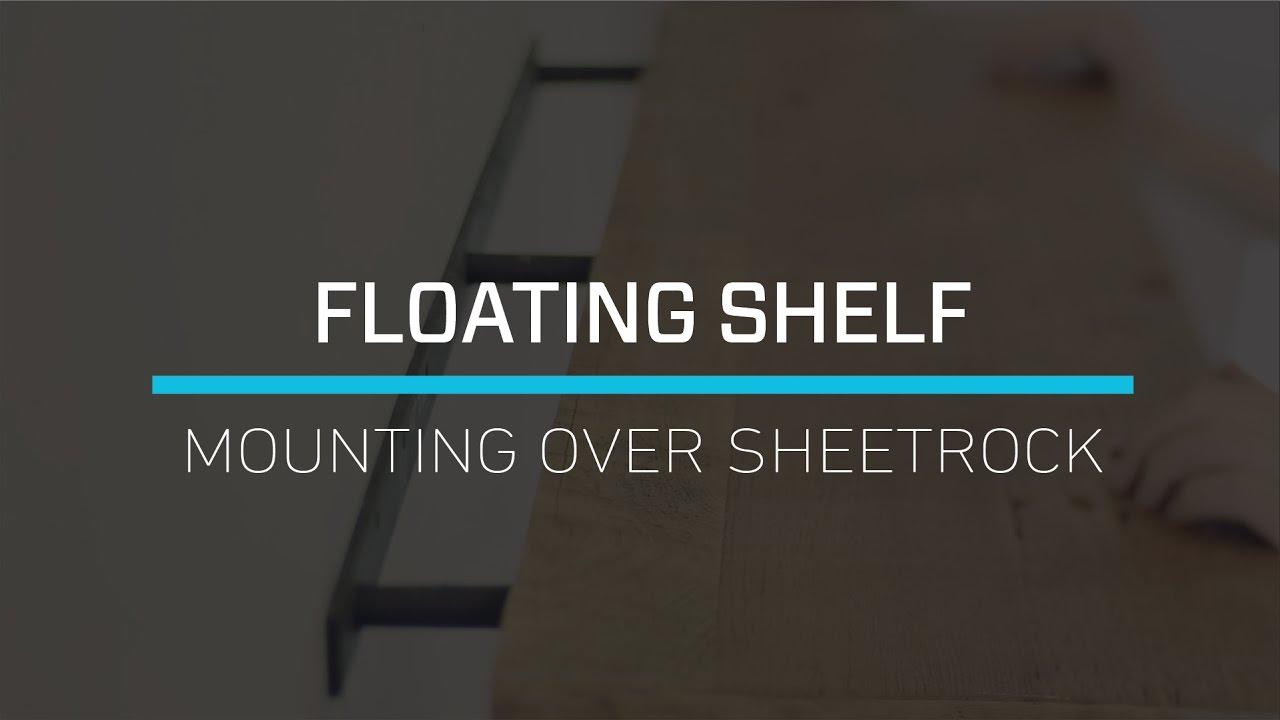 install floating shelves over sheetrock tutorial diy shelf drywall building crown molding wooden brackets average closet depth black glass media unit kmart carpet wall bunnings