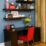 interior design unique storage with exciting ikea cozy dark wood desk red parsons chair and floating shelves for elegant office room corner lack shelf kitchen organization bins 150x150
