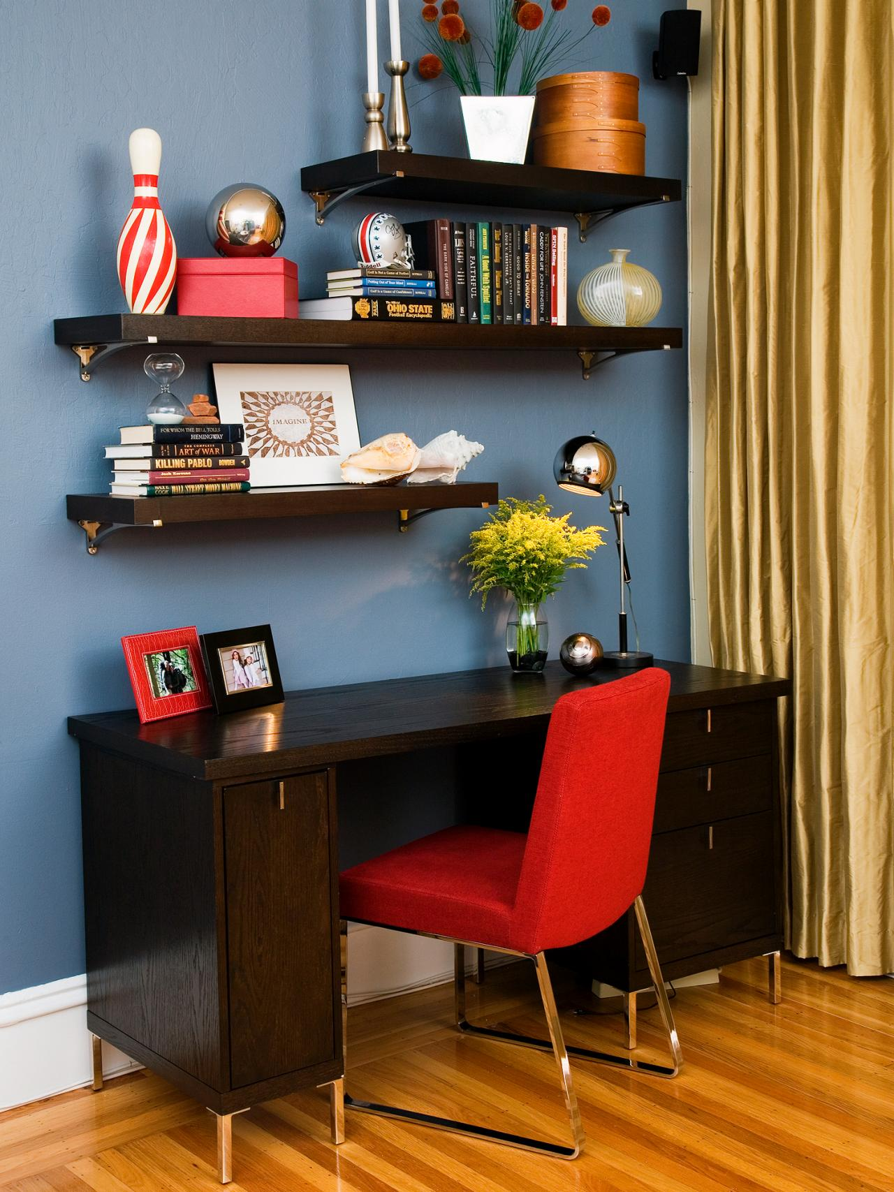 interior design unique storage with exciting ikea cozy dark wood desk red parsons chair and floating shelves for elegant office room corner lack shelf kitchen organization bins