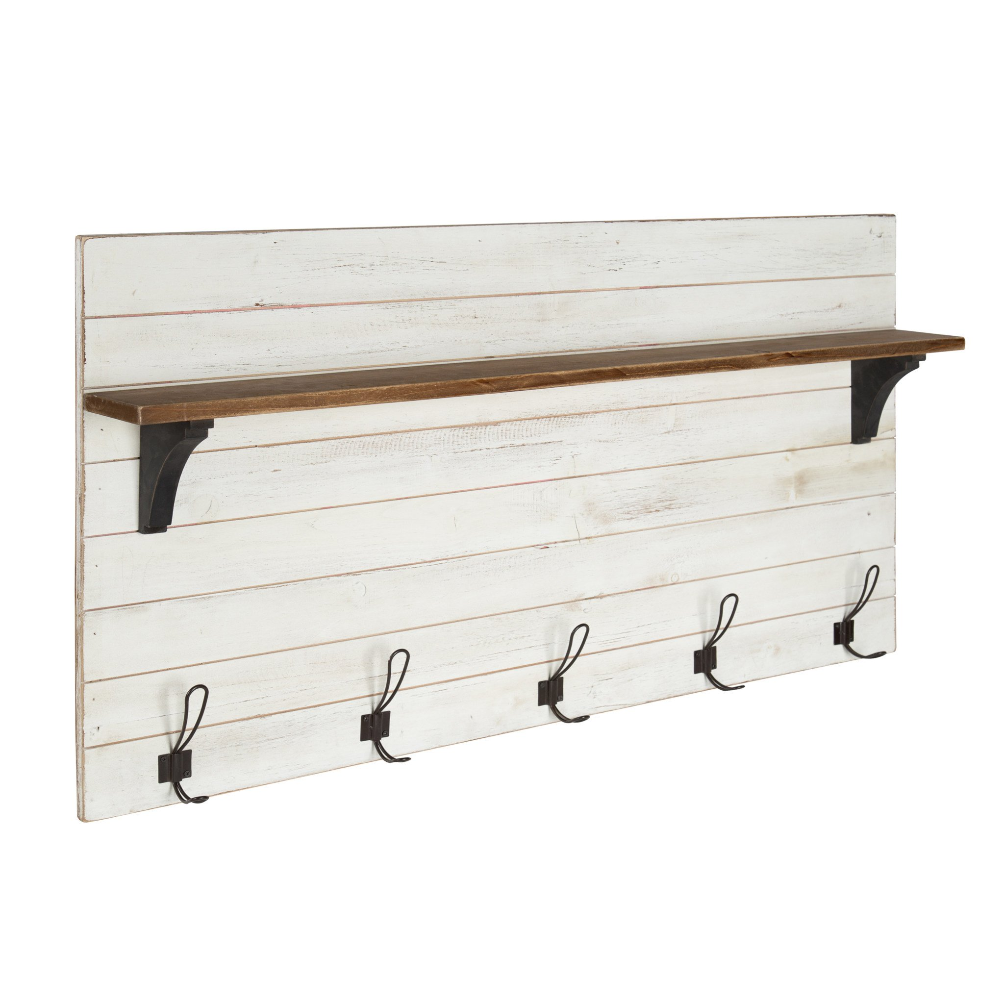 jeran wood wall shelf with hooks kateandlaurel white floating farmhouse diy bathroom shelves decorative liner hanging desk drawer reclaimed barn table open pantry shelving ikea