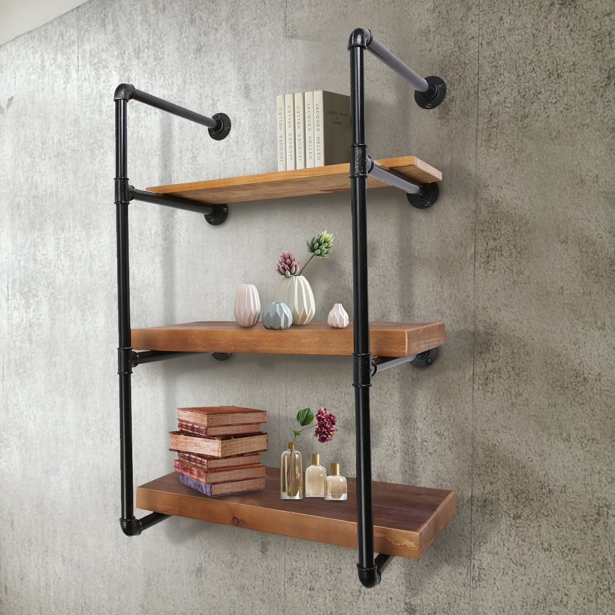 jeteven wall mount industrial iron pipe shelf brackets floating tiers diy storage shelving bookshelf holder without wood plank gap between and kitchen island countertop corner