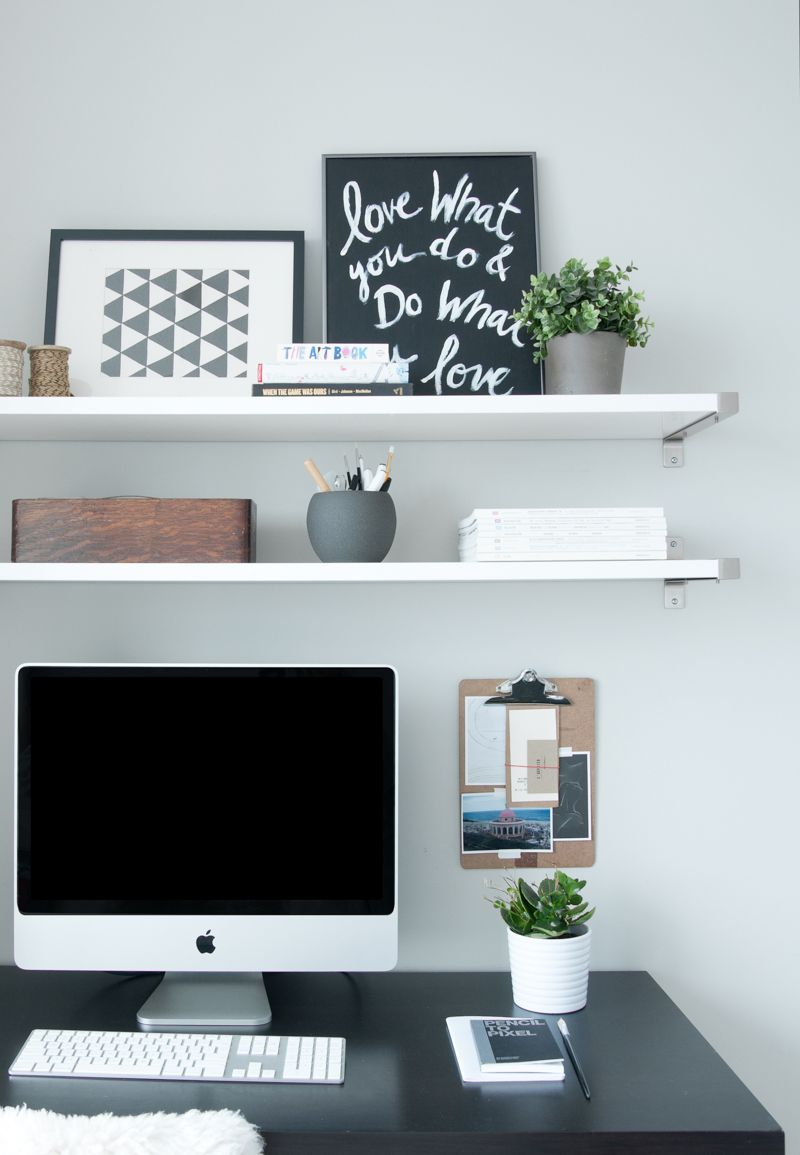 just outside toronto condo filled with things loved office floating shelf over desk like the shelves above design sponge standard kitchen cabinet height counter electronic