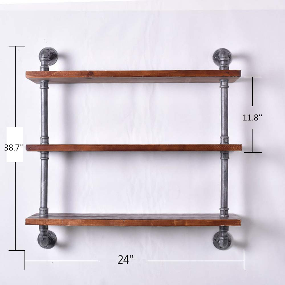 kaler diy industrial pipe hanging shelves floating shelf build weight bearing tier black brush silver kitchen dining furniture with hidden gun compartments glass panels open