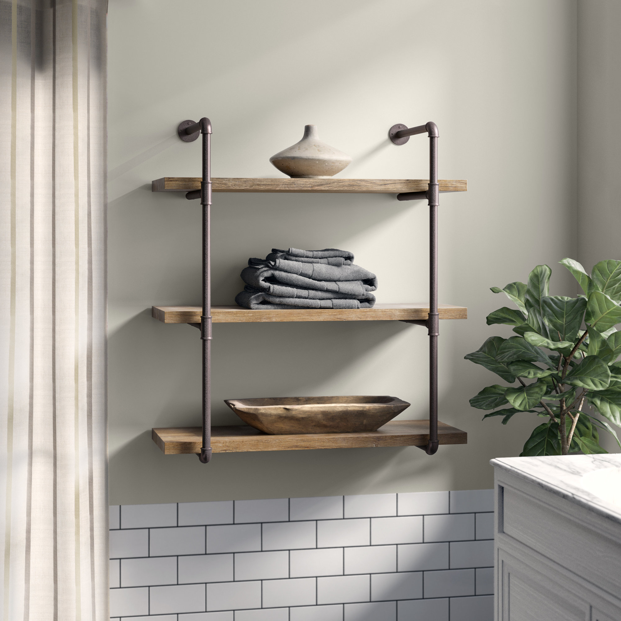 kennard tier wall shelf floating shelves with industrial pipes white tree coat rack closet system installation wood systems mounted bookcase fireplace mantel free standing metal