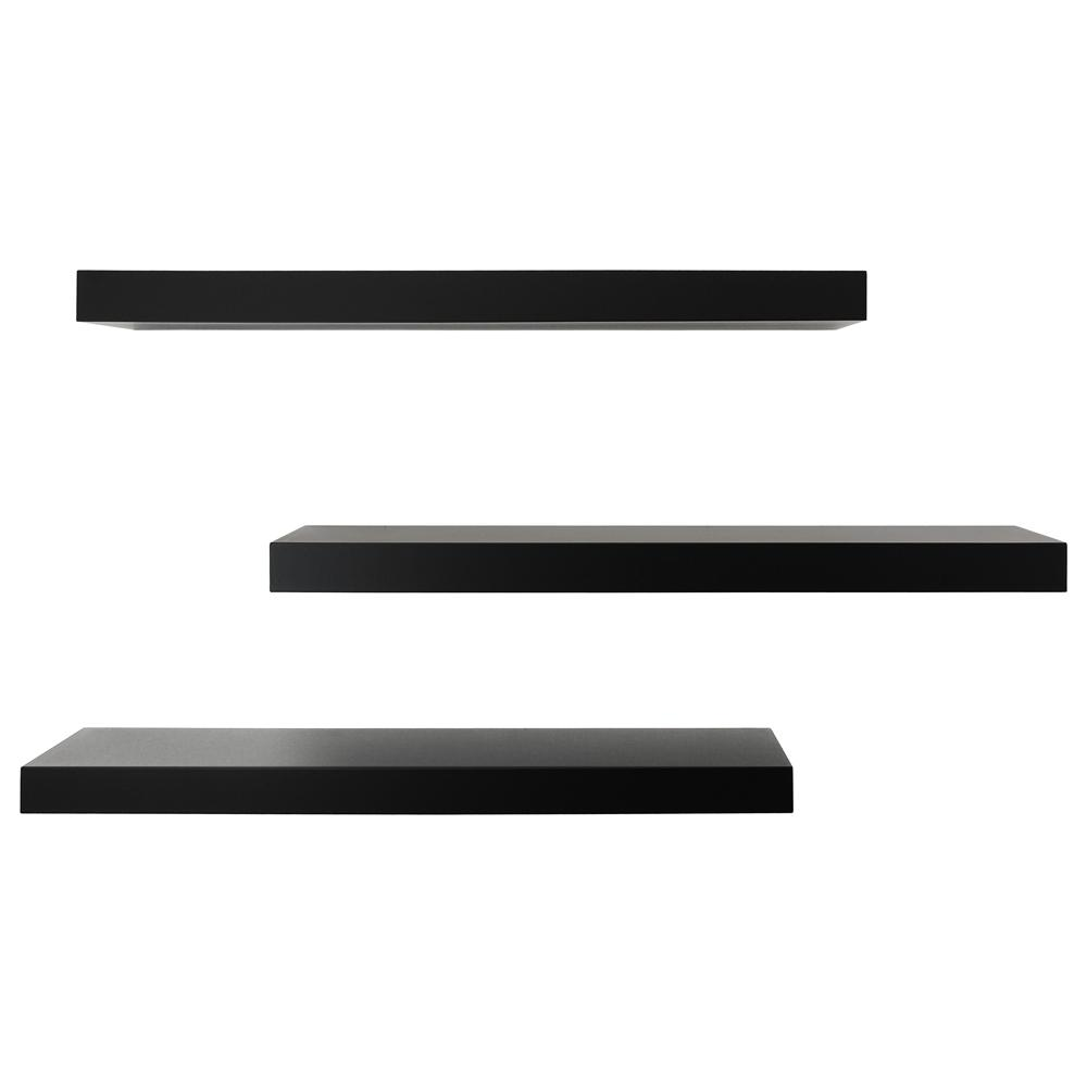 kiera grace black floating wall shelf pack decorative shelving accessories with drawer iron shelves ikea ekby brackets white decor for nursery wood and metal hemnes shoe cabinet