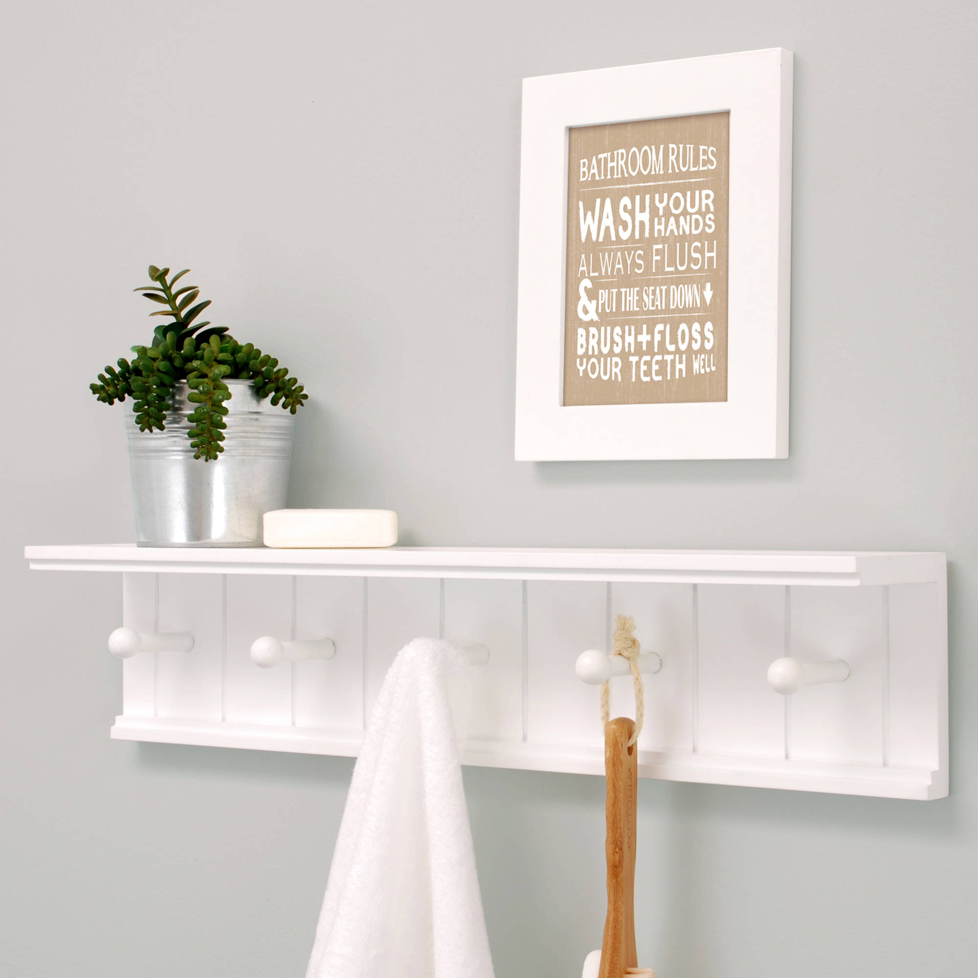 kiera grace kian wall shelf with pegs white floating hooks long narrow computer table granite bracket bathroom over sink cabinets jacket hanger rack hanging shelves reclaimed barn