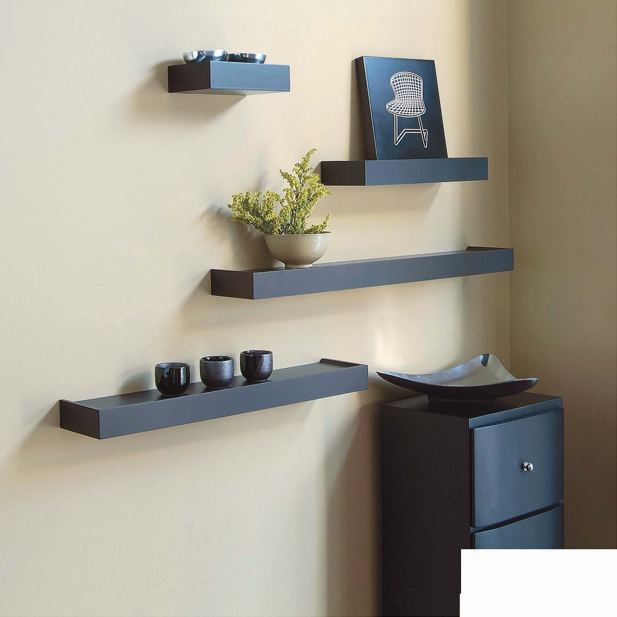 kiera grace vertigo set black wall shelves floating shelf rolling vinyl tile skinny bathroom storage gap between kitchen units mounts for canadian tire shelving decorative holders