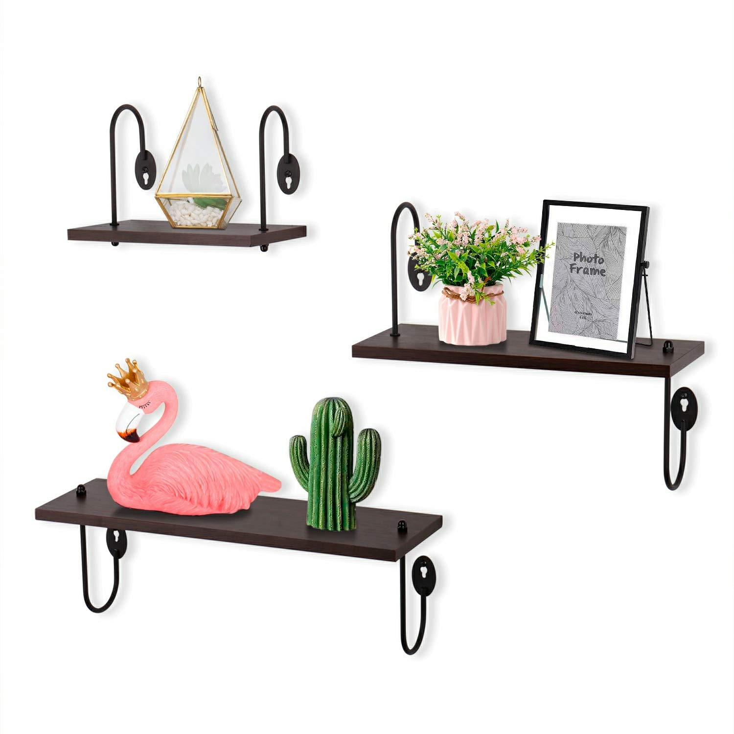 kis floating shelves wall mounted set rustic large wood with storage for bedroom bathroom living room kitchen office walnut brown industrial open shelf ladder bookcase ikea unit