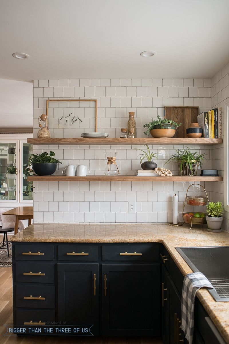 kitchen reveal with dark cabinets and open shelving ideas floating shelves diy the brass pulls granite white ikea wall large dvd storage student desk drawers shoe rack designs