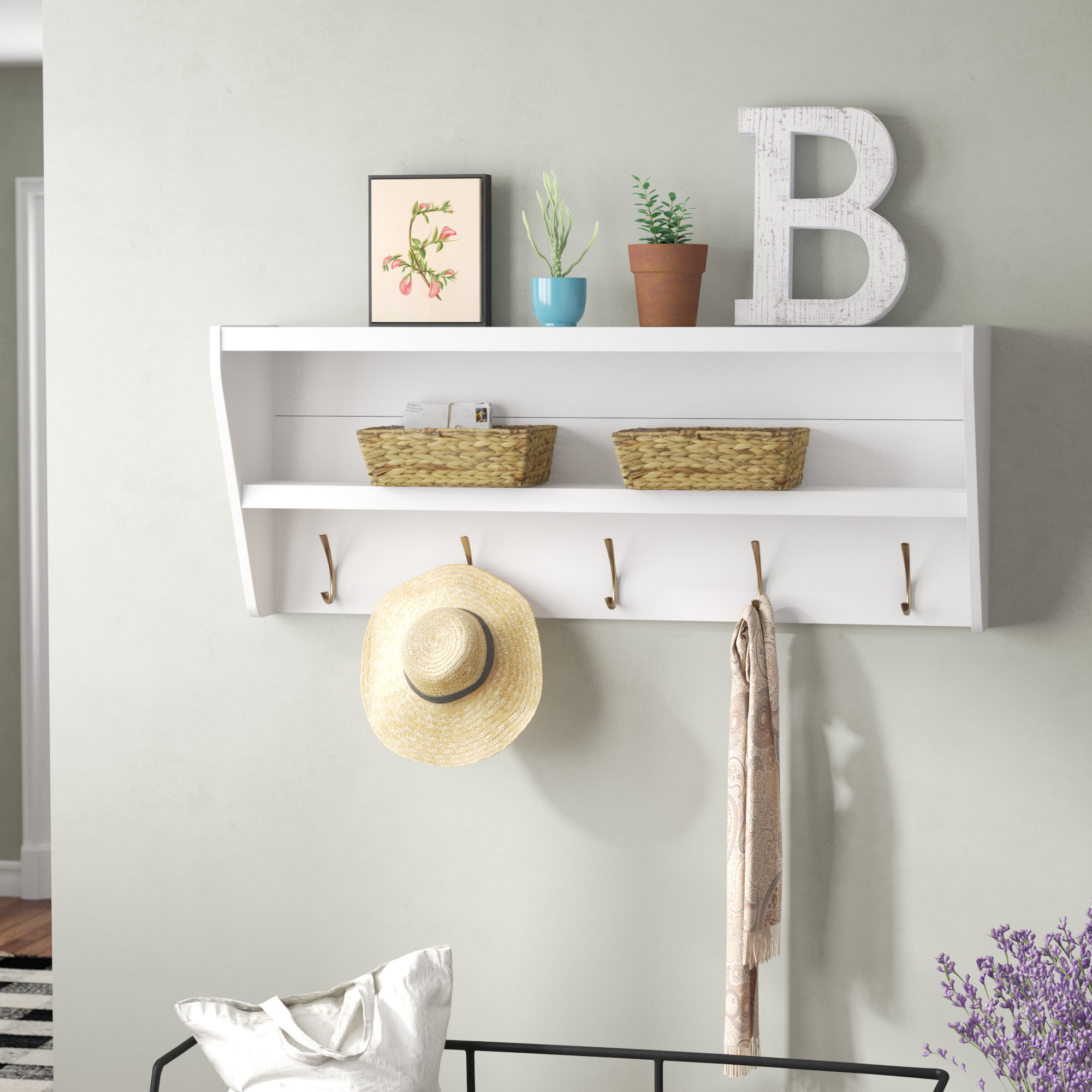 laurel foundry modern farmhouse manzanola floating wall mounted coat rack shelves for entryway reviews ikeas shelving unit office computer table mantels and simple wood mantel