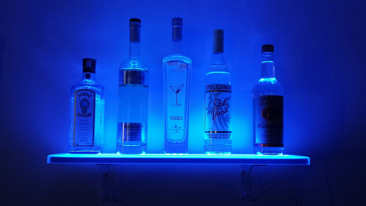 led floating bar shelf liquorshelves bluefour shelves with lights room and board kitchen island black glass wall mounted standard height cabinets above counter target decorative