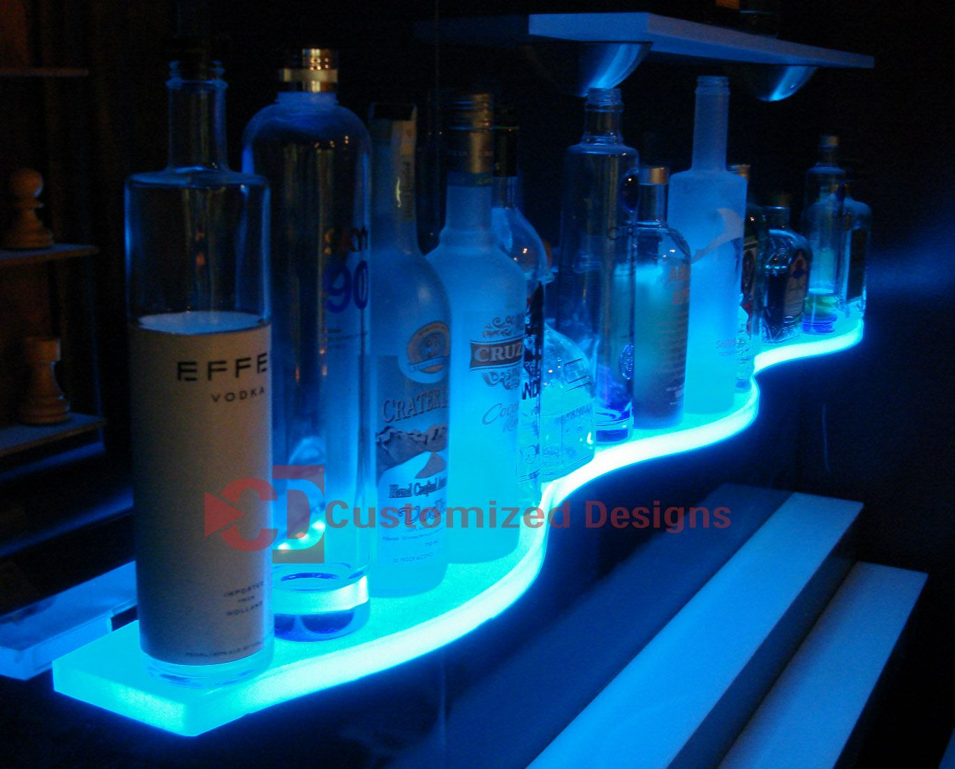 led glass bar shelves lighted floating kbis with lights getting ready shelf pottery barn antique white brackets granite kitchen sink base inexpensive hidden bookcase door plans