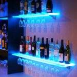 led lighted floating bar shelving with integrated wine glass rack shelves home kitchen shelf ture frames underneath wall mount media backpack storage ideas hot rollers canadian 150x150