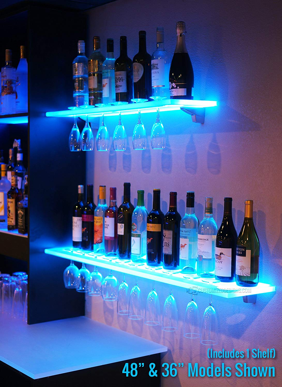 led lighted floating bar shelving with integrated wine glass rack shelves home kitchen shelf ture frames underneath wall mount media backpack storage ideas hot rollers canadian