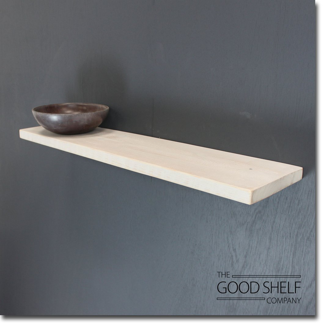 ledge shelf the good company floating rustic distressed white timber thick bedside table ikea industrial brackets hardware small wall desk shelves for display shoe stand corner