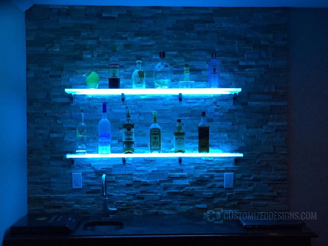 lighted display shelving for bars nightclubs restaurants and more floating glass bar shelves led gallery customized designs average closet shelf height industrial storage deep
