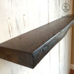 live edge reclaimed wood antique oak floating shelf dark walnut shelves finish mounting hardware not included simple bookcase design covert gun storage furniture library 150x150
