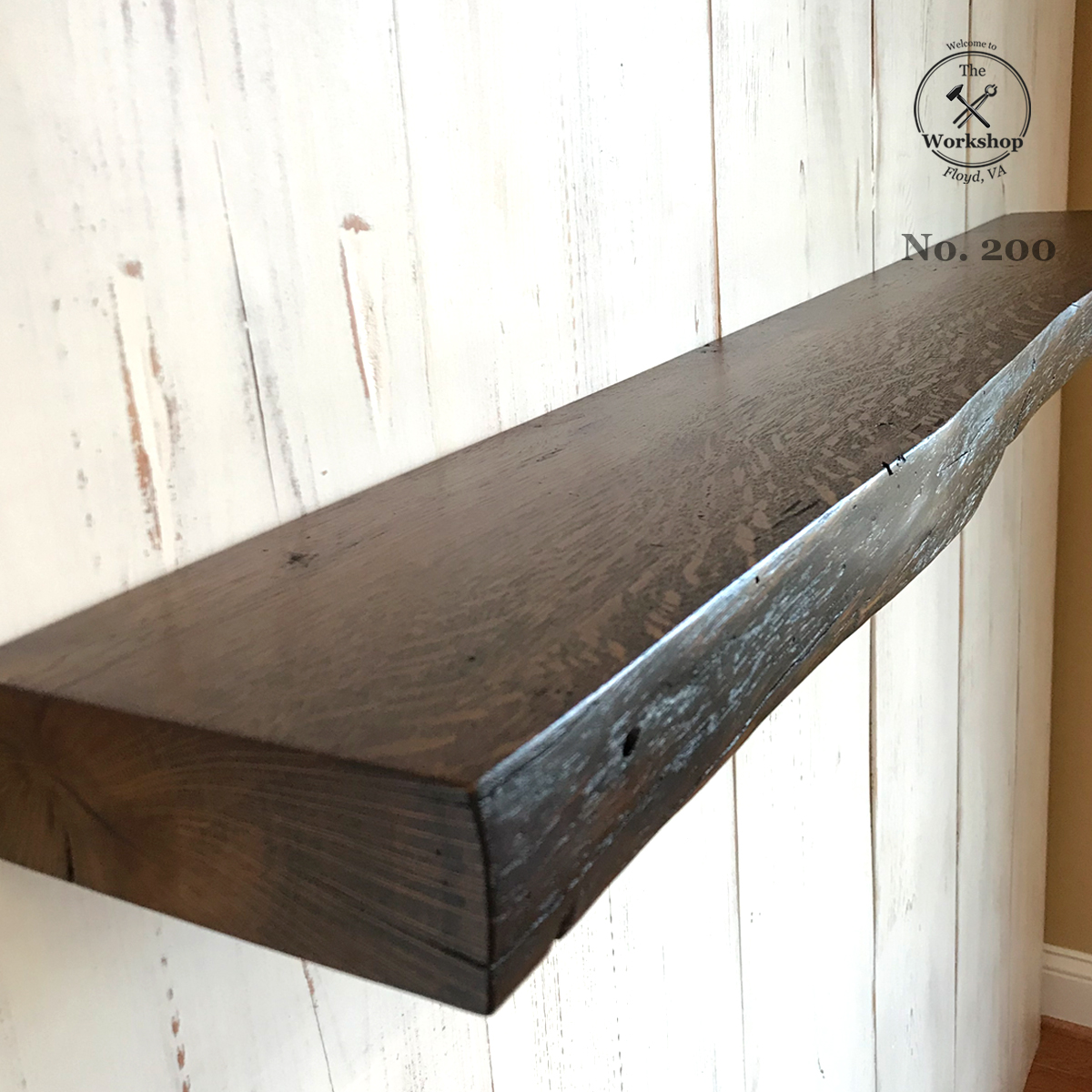 live edge reclaimed wood antique oak floating shelf dark walnut shelves finish mounting hardware not included simple bookcase design covert gun storage furniture library