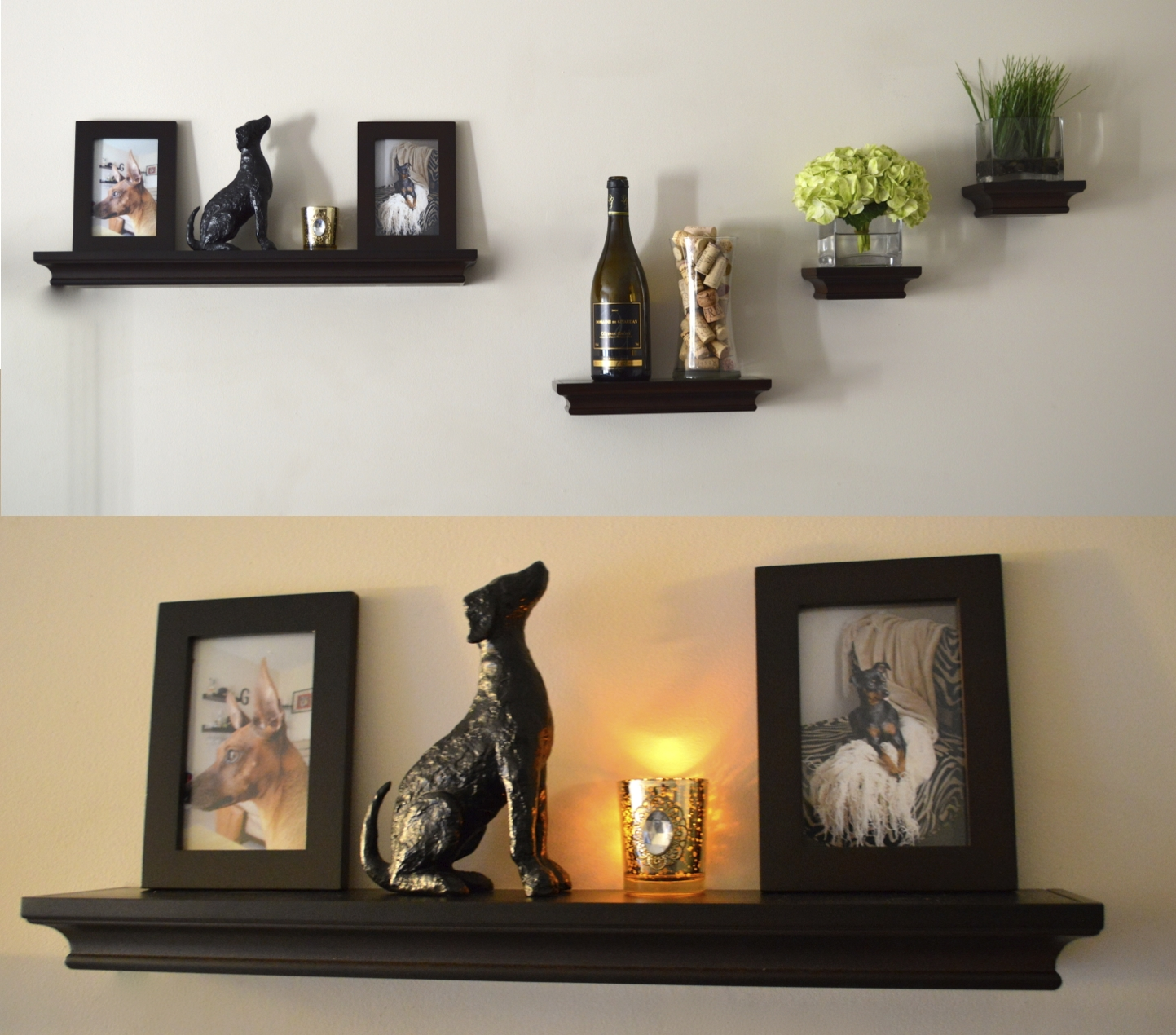 living room black wooden floating shelves with molding stone dog wall decor silver steel lamp light white glass bottle clear small plant pots ture frames decorations computer desk