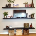 living room long black wooden laminate floating shelves wicker rattan rectangle storage boxes with lids led set copper plants pots brown stripped floor rug target silver planters 150x150