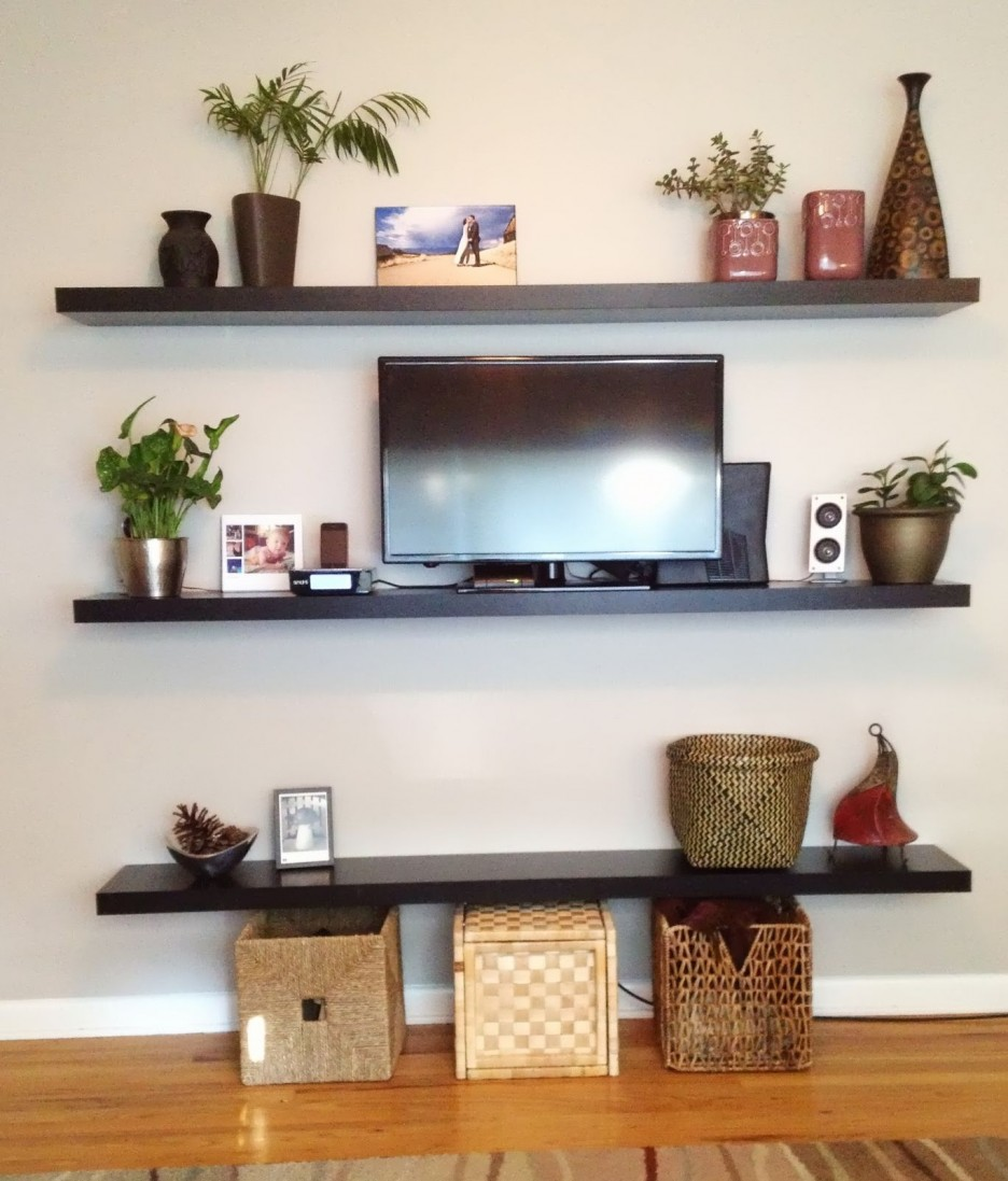 living room long black wooden laminate floating shelves wicker rattan rectangle storage boxes with lids led set copper plants pots brown stripped floor rug target silver planters