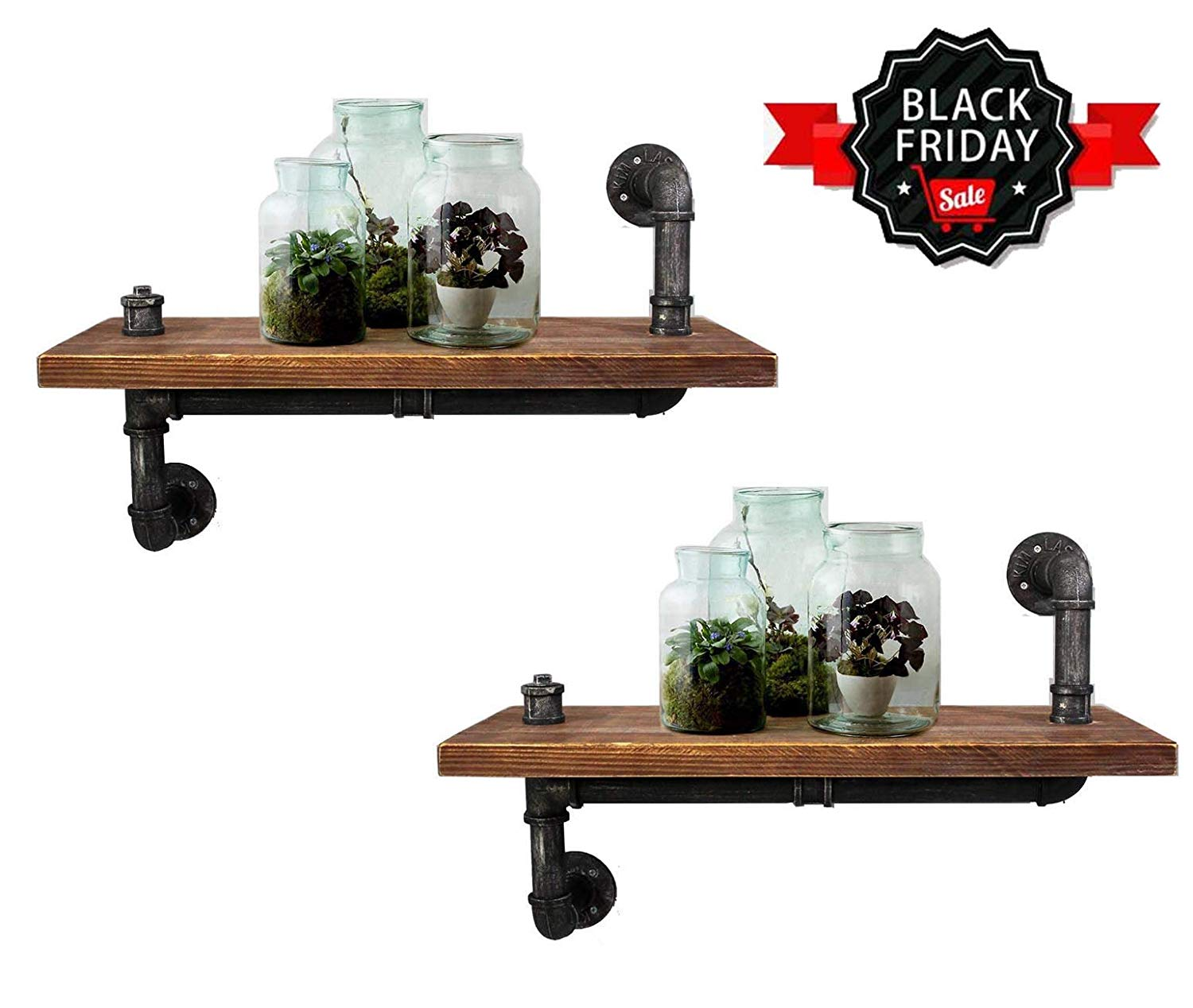 lokkhan set inch industrial pipe shelving floating shelves black friday bookshelf rustic wall mounted shelf vintage home decorative wood open closet systems work brackets french