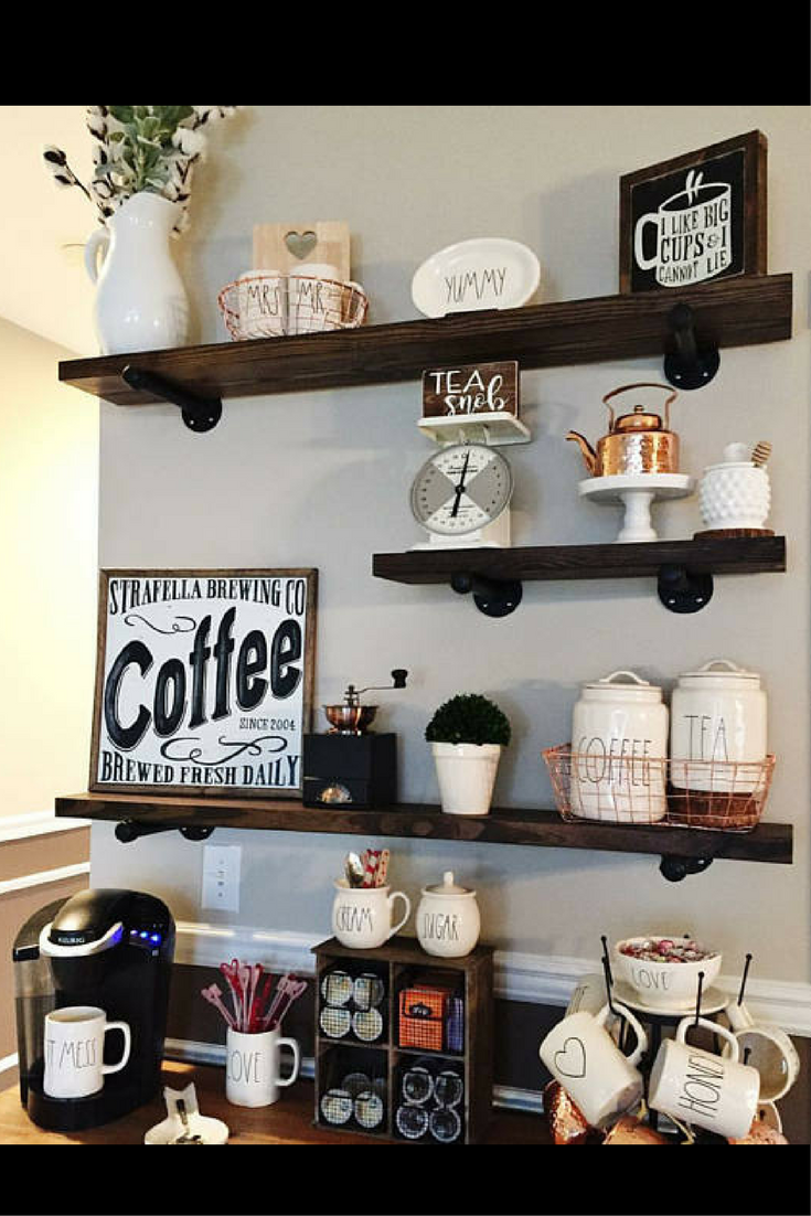 love these handmade rustic industrial shelves they will look floating above bar perfect coffee farmhousedecor farmhouse decorations coffeebar kitchen island with built dining