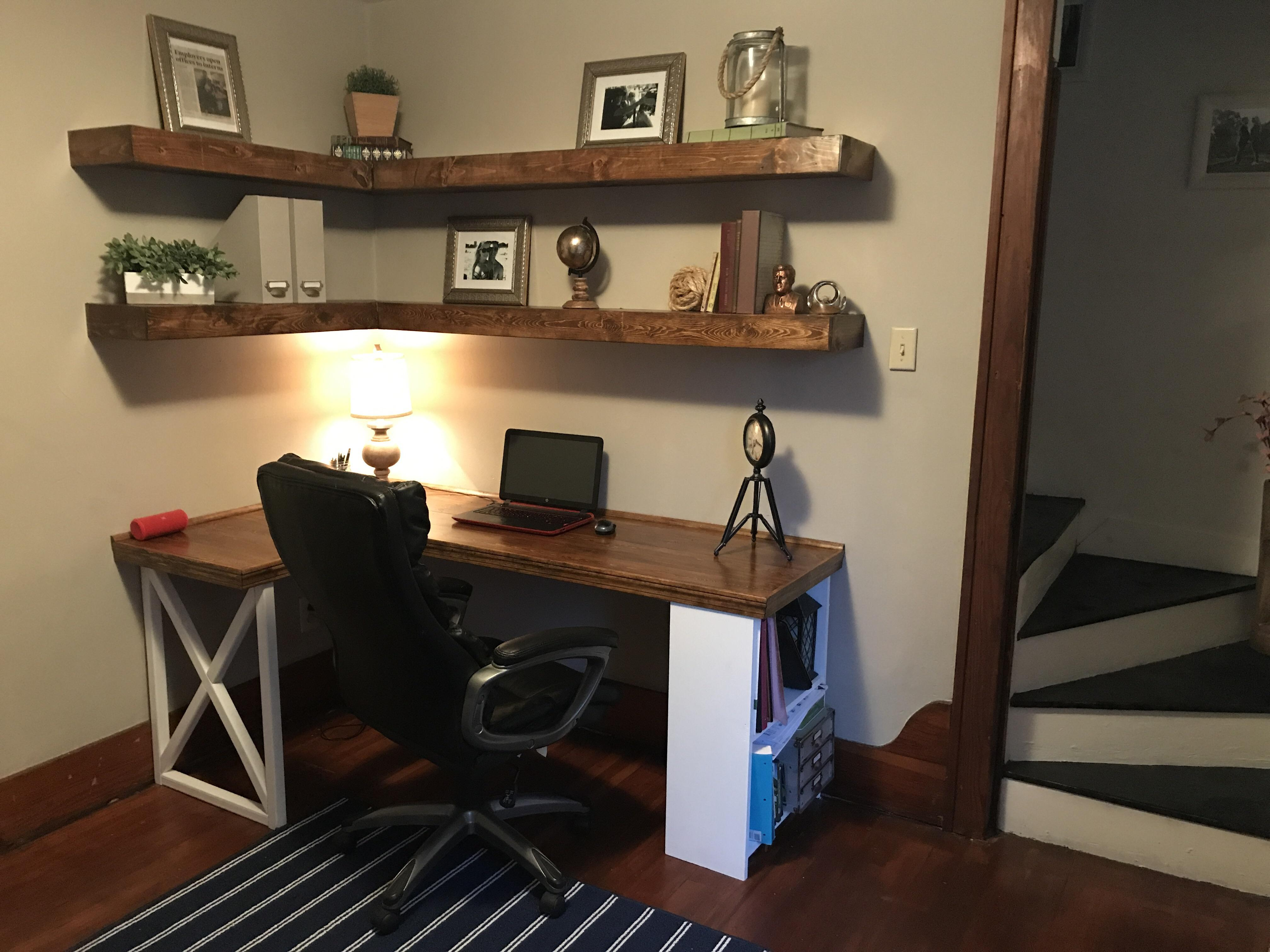 made built desk and floating shelves girlfriend house shelf over spring break thanks for letting borrow the tools workbench kitchen island open glass cabinets round wall wood dark