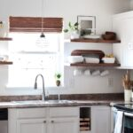 made carli diy kitchen how install floating shelves with open cabinets little over three years ago removed most upper and installed shelving our was one favorite updates quarter 150x150