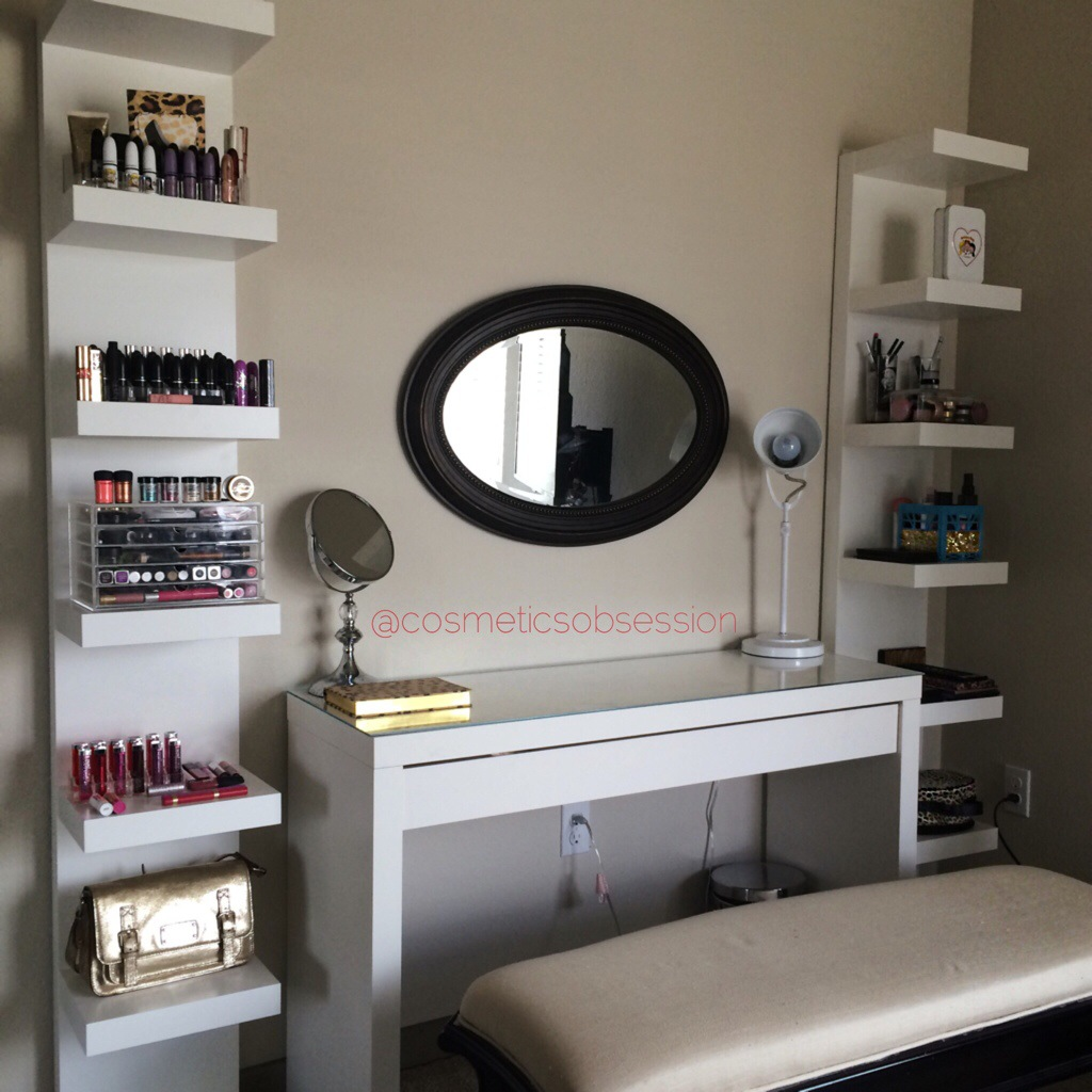 makeup storage and organization ikea lack shelf unit malm floating dressing table secret brackets unique wall designs steel granite supports above very small bathroom ideas desk