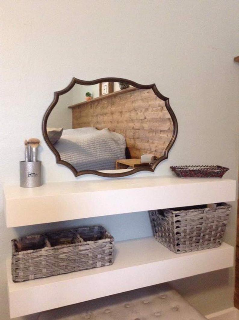 makeup vanity floating shelf wall shelves bathroom etsy irhh desk with book hanging corner storage very small ideas cabinet open space top kitchen cabinets steel granite supports
