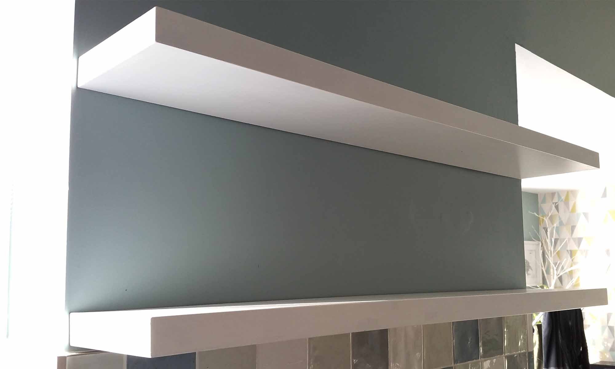 making white gloss floating shelves gosforth handyman whiteglossfloatingshelves grey xbox wall shelf small bathroom sink open closet organizer diy drawer elastilon underlay
