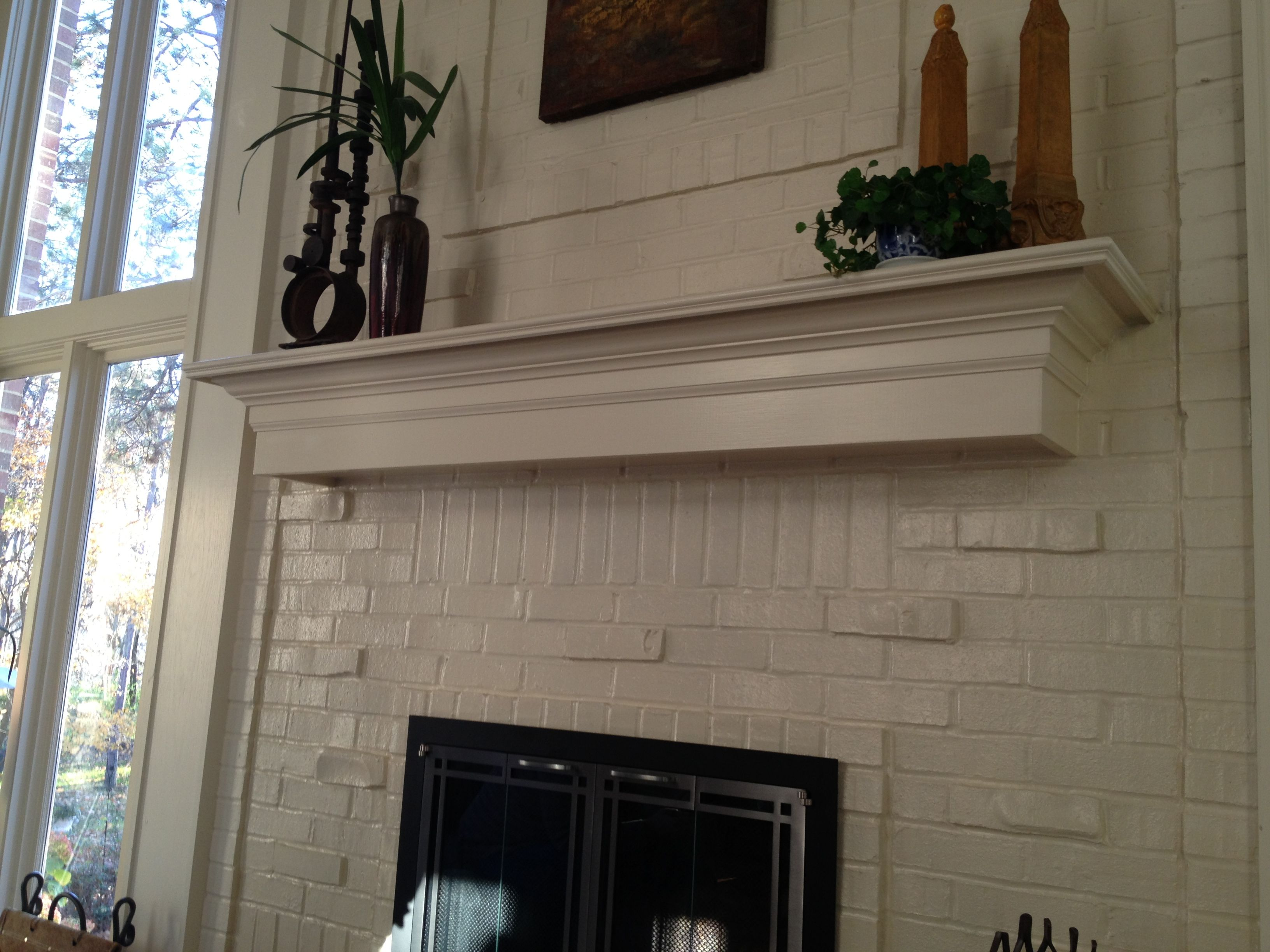 mantel ideas for brick fireplace white painted and floating shelf horizontal dvd pottery barn brackets small media storage cabinet garage organization modern shelves sliding pan