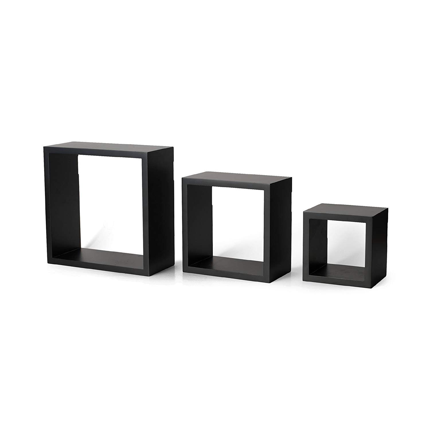 melannco floating wall mount square cube shelves set shelf black home kitchen homebase units ikea shoe cupboard hemnes inch deep folding island table railway sleeper mantelpiece