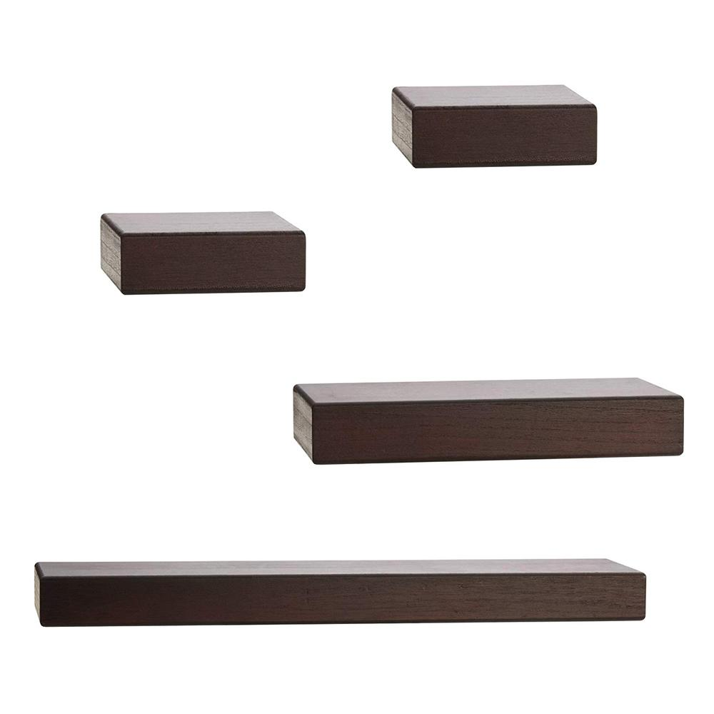 melannco piece cherry wood floating chunky ledge decorative wall shelving accessories shelf set small box canadian tire folding chairs steel cabinet clips cap rack system