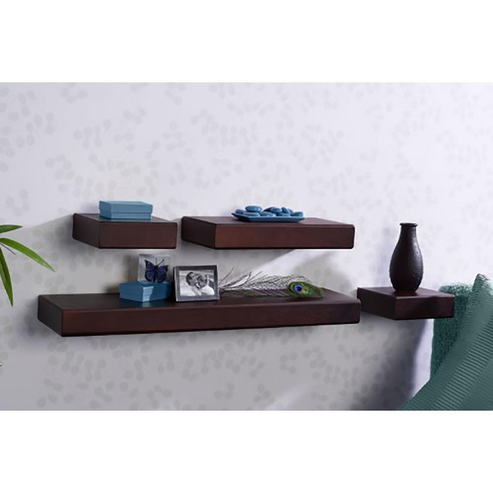melannco piece cherry wood floating chunky ledge decorative wall shelving accessories shelves grey shelf set the diy secret drawer homemade kitchen organizer rack glass corner