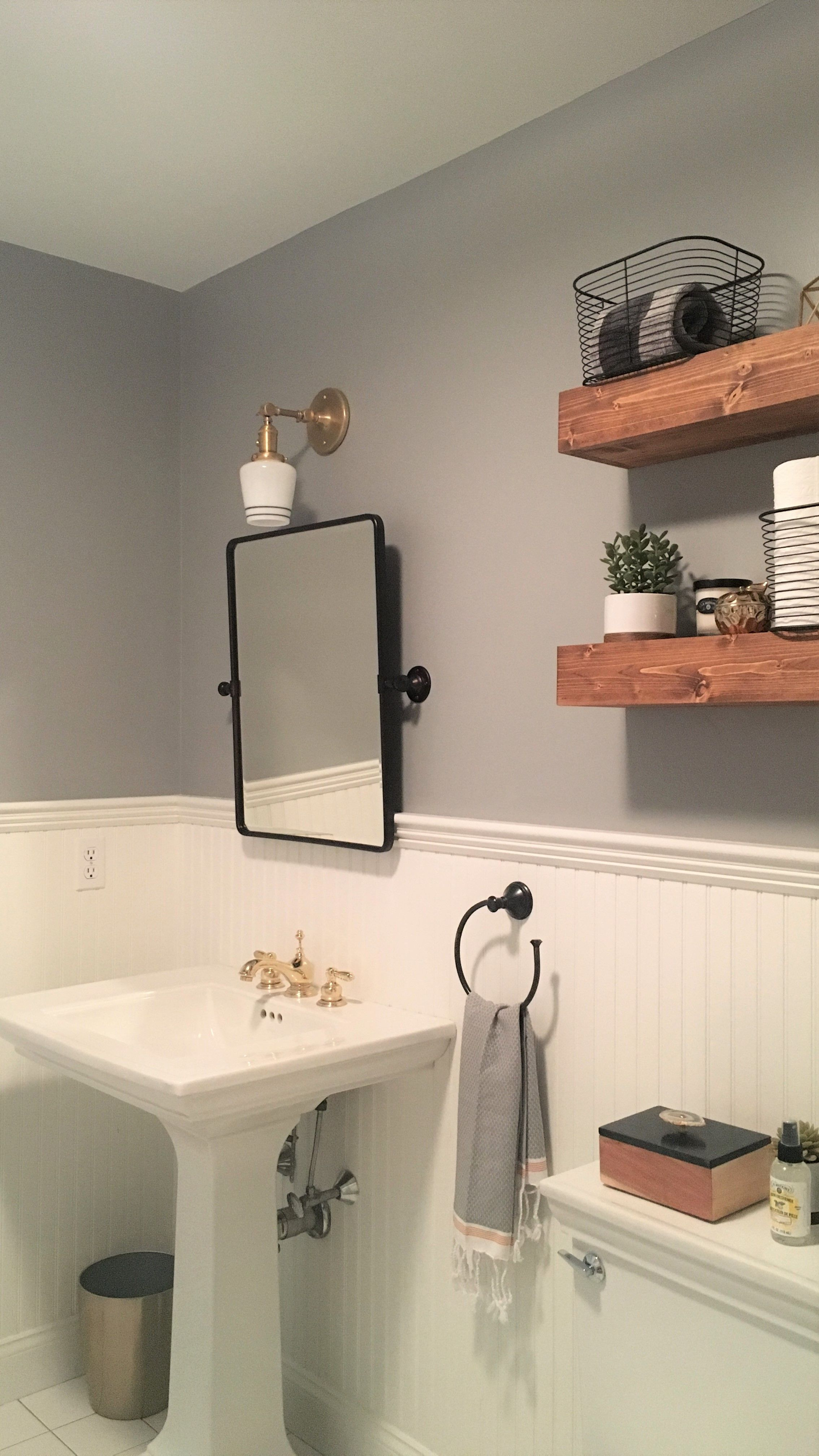 modern farmhouse bathroom floating shelves vintage accents pedestal shelf sink garage storage racks television component heavy duty shelving unit opti myst fire velcro stickers