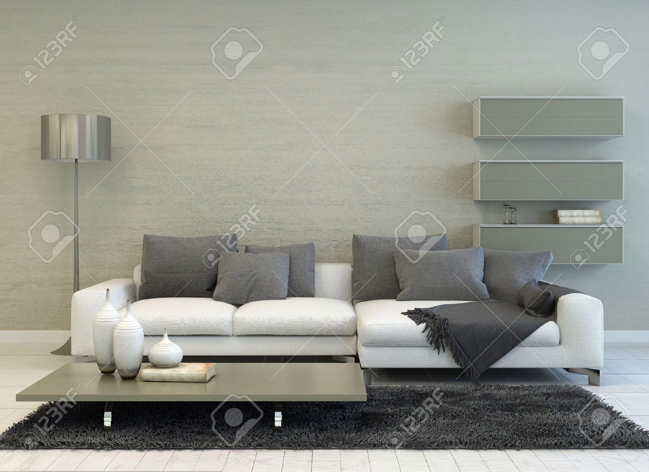 modern grey and white living room with floor lamp sofa coffee table floating shelves hook rack for coats ematic dvd player wall mount bookshelf kmart storage boxes instead