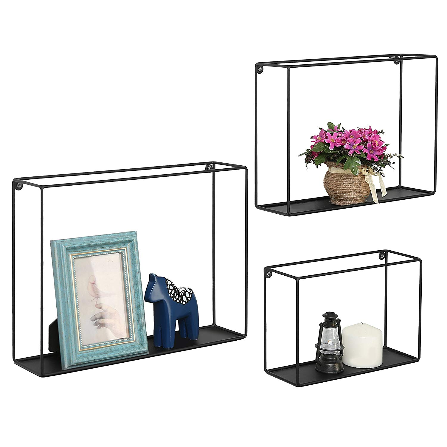 modern metal wire frame shadow boxes decorative floating shelf box cube shelves set black home kitchen lack wall installation wood fireplace surround kits oak beam over ideas for