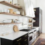 modern mountain home tour great room kitchen dining floating shelves with vintage rug studio mcgee edgecliff brass hardware schoolhouse electric decorative items for shelf bracket 150x150