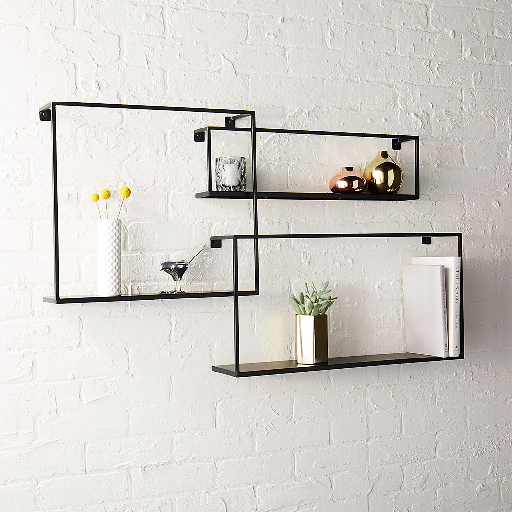 modern shelving and wall mounted storage floating shelves set three white shelf with hooks large square ends decorative liner black cube hanging small island wheels plywood